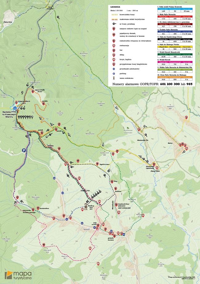 Krawculskie Trasy mapa